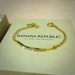 全新Banana Republic 金色T字扣手鍊