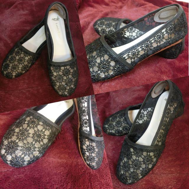 透膚蕾絲懶人鞋24.5
