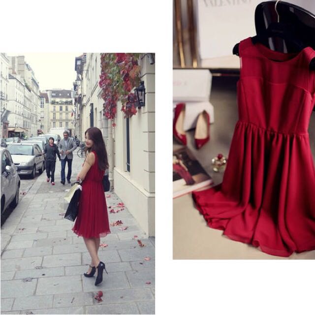 全新 無袖雪紡紅色洋裝