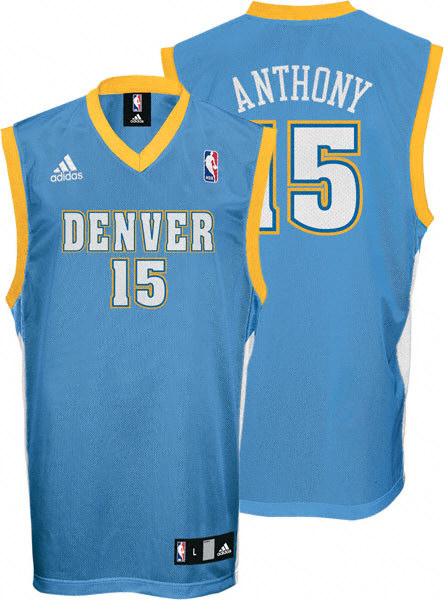 get cheap ee864 d9c86 Carmelo Anthony #15 Blue adidas NBA Authentic Denver Nuggets ...