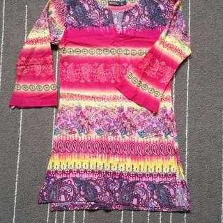 Hot Pink Batik Long Sleeve Blouse