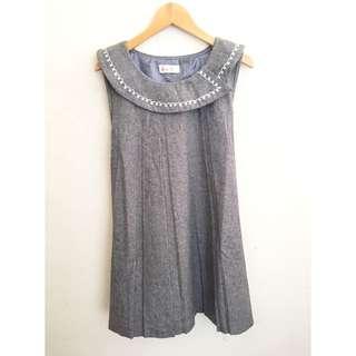 二手 古著 復古衣領刺繡灰色連身裙
