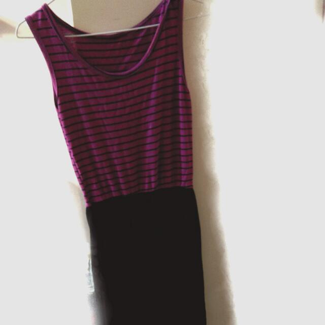 無袖條紋連身裙 前短後長