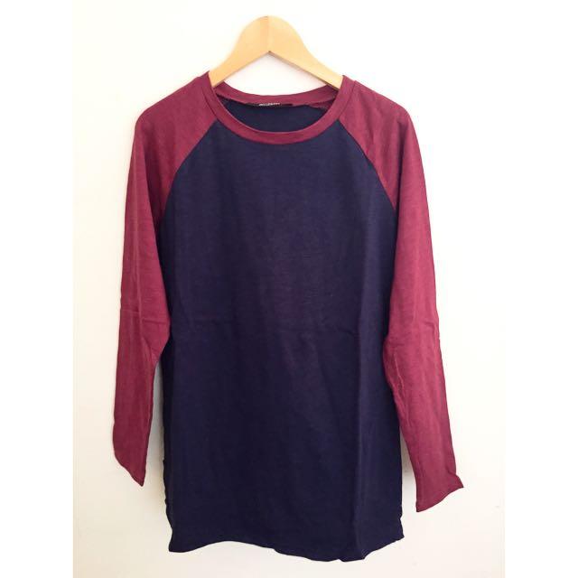全新 秋冬新款 藍紅拼接棉質上衣