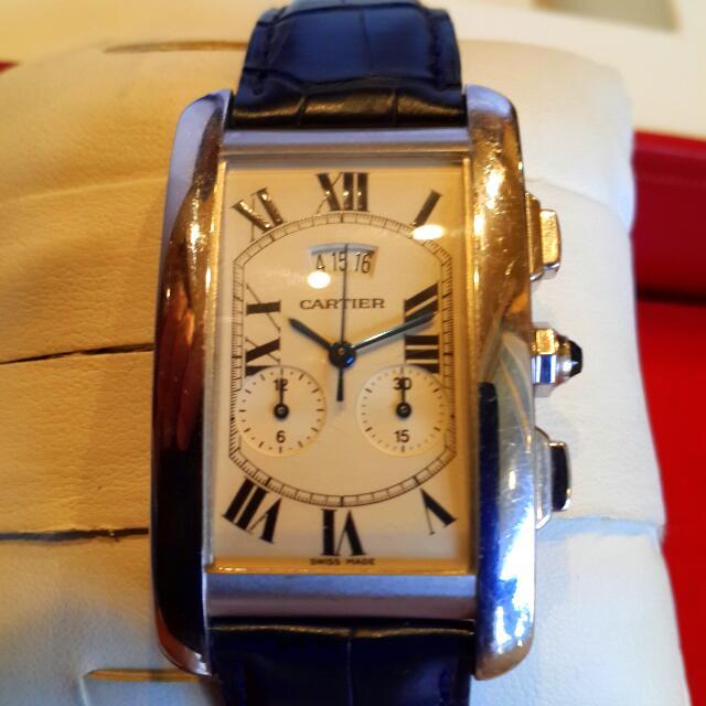 全白k金卡迪亞計時碼錶石英手錶(大降價)(適合女性)