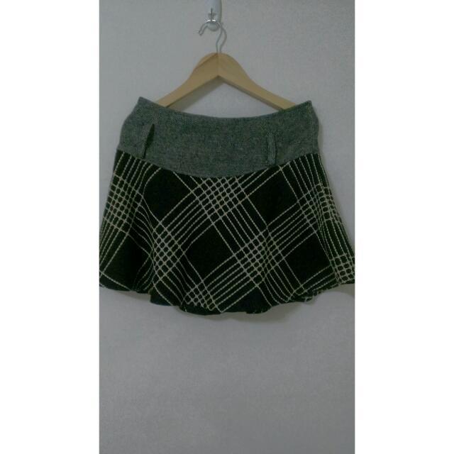 古著格紋短裙