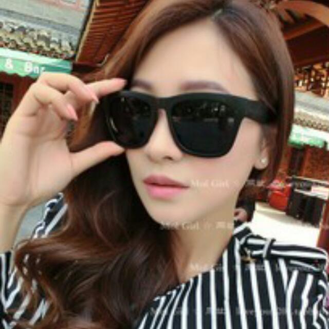 韓版 全黑亮方框 太陽眼鏡