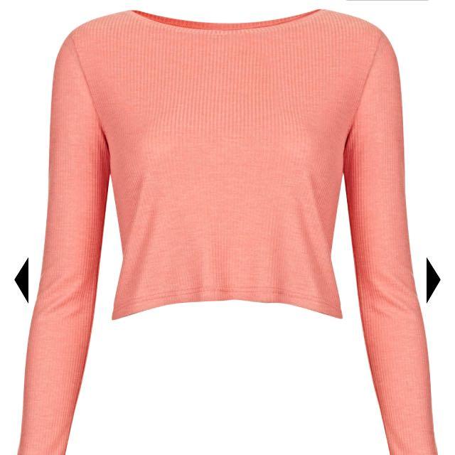 TOPSHOP Coral Pink Long-sleeved Crop Tee
