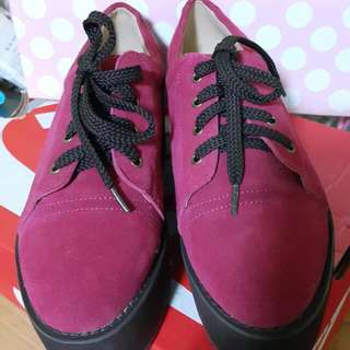 Air Space{全新}桃紅色厚底鬆膏鞋size36