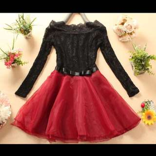 Princess Style Brand New Black Lace And Red Dress