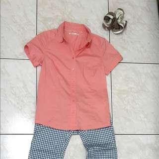 lativ 粉嫩菊襯衫