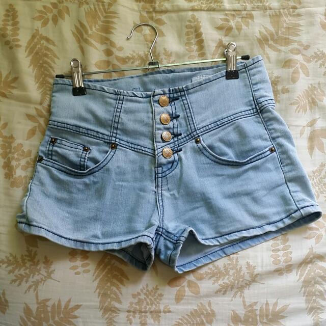 淺藍牛仔高腰短褲