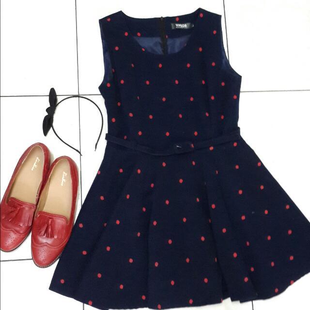 紅點深藍小洋裝