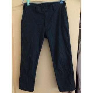 Uniqlo八分褲 藍綠色 尺寸30腰 8成新