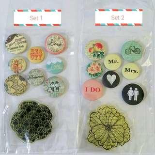 Button Sticker And Flower Stamp Set