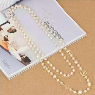 Pearl And Rose Long Necklace