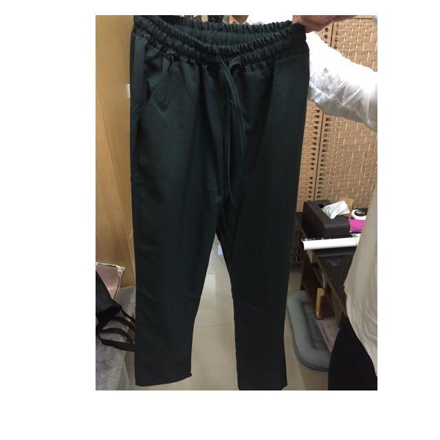 墨綠色抽繩綁帶長褲
