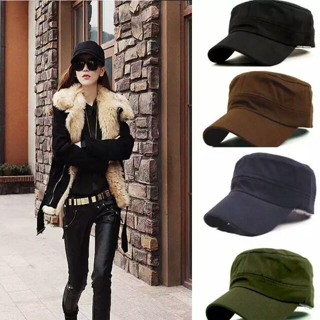 Classic Plain Vintage Army Hat Cadet Military Patrol Cap Adjustable ... 5a6d5e3cfed