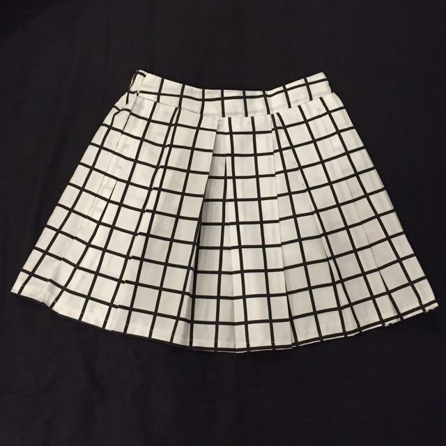 White Grid Skirt
