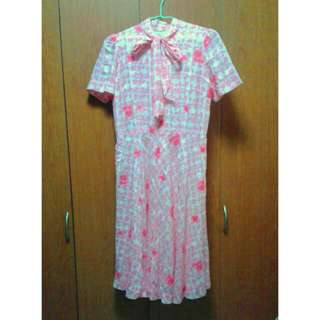 True Vintage Pink Houndstooth Dress With Secretary Bow