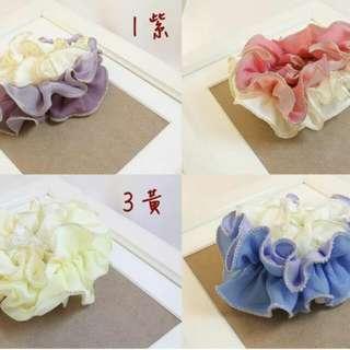 100%韓國帶回。韓國春夏新款三色髮圈 四色 紫/粉/黃/藍 1267700502