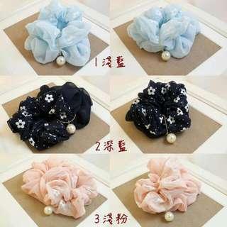 櫻花小珠雙圈髮圈 三色 淺藍/深藍/淺粉 3266470684