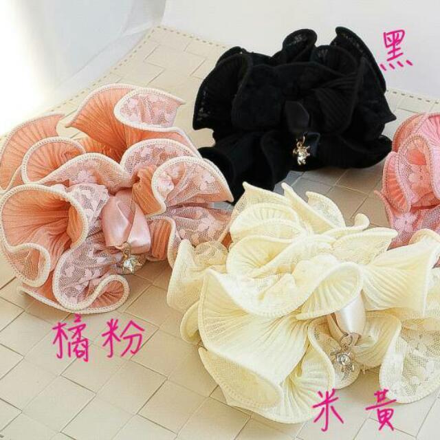 蕾絲雪紡雙層蝴蝶結水鑽髮圈 四色 黃/桃粉/橘粉/黑 6260760552