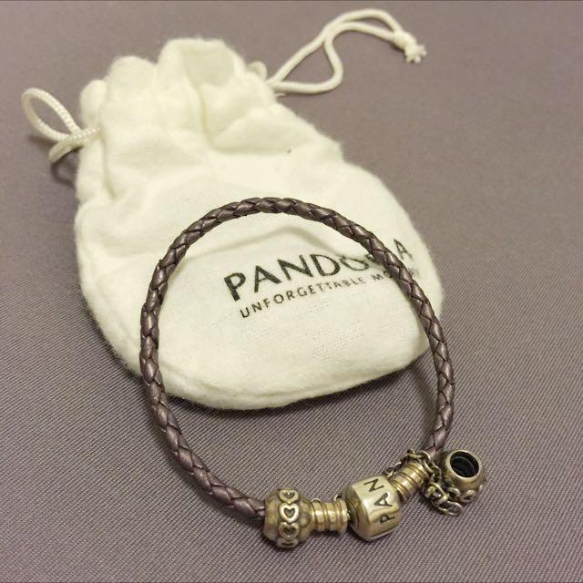 Pandora紫色皮繩單圈手鍊+安全鍊