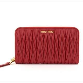 Brand New Miu Miu Matelassé Round-Zip Wallet in Ciliegia 5M0506