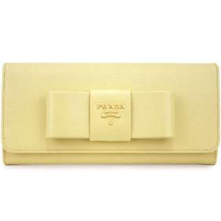 Prada Leather Wallet With Bow in Polline 1M1132 ZTM F0901