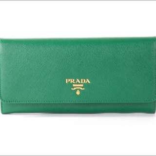 Brand New Prada Portafoglio Leather Long Wallet in Verde 1M1132 QWA F0089