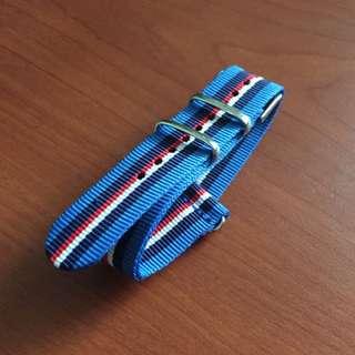 20mm Blue Nato Watch Strap With Dark Bluw/Red/White Stripes