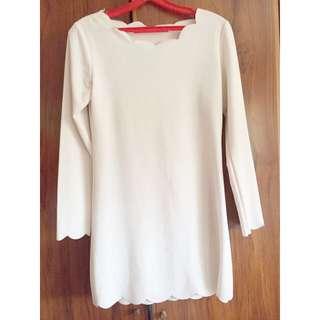 White Scallop Shift Dress