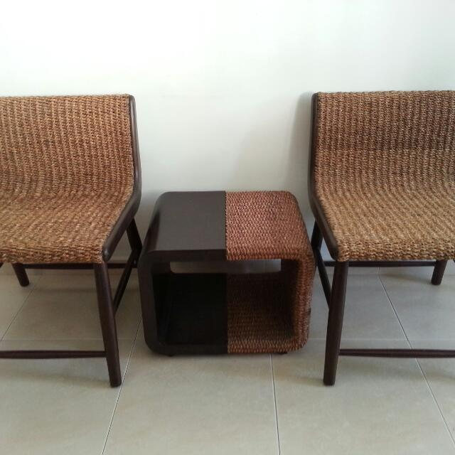 2 Chairs And Table Water Hyacinth, Water Hyacinth Furniture