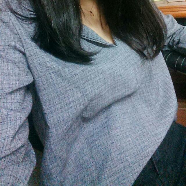 灰色 文青襯衫