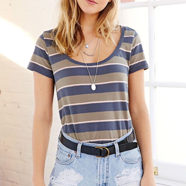 Urban Outfitters BDG Striped Scoop-Neck Tee