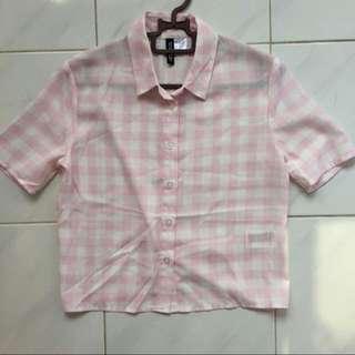 H&M Pink Plaid Shirt
