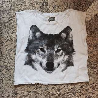 Wolf Sleeveless Ragged Tee