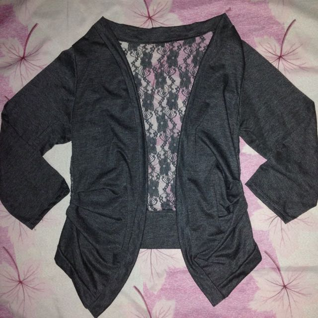 Cardigan W/ Lace Accent