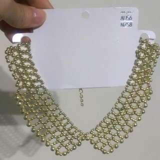 金色珠珠項鍊式假領子