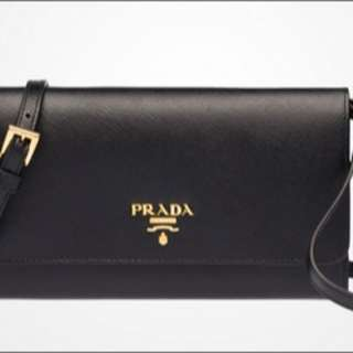 Authentic Prada Saffiano Long Wallet with Strap