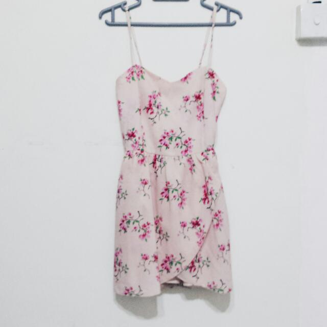 Pink Sakura Print Romper