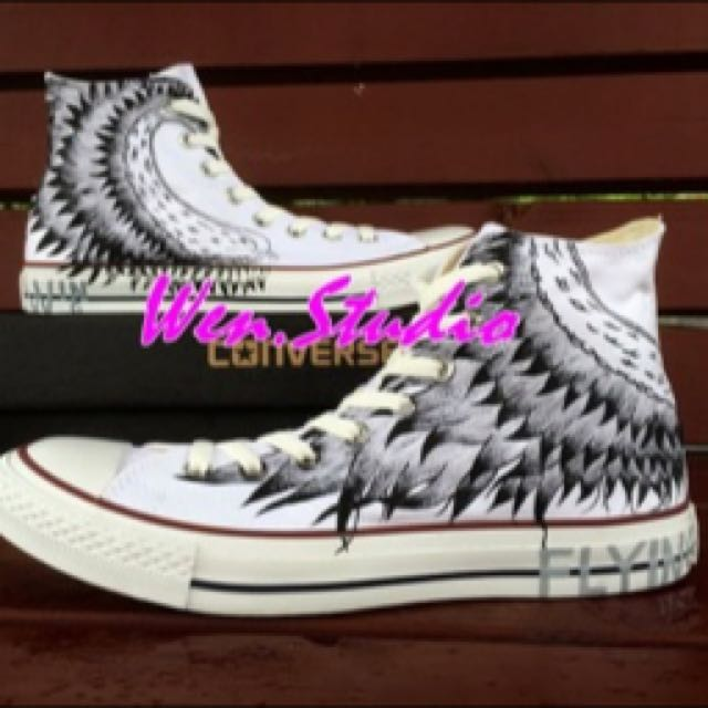 c212fc8f7a89 preorder  Custom Customised Personalized Converse Sneakers Feathers ...