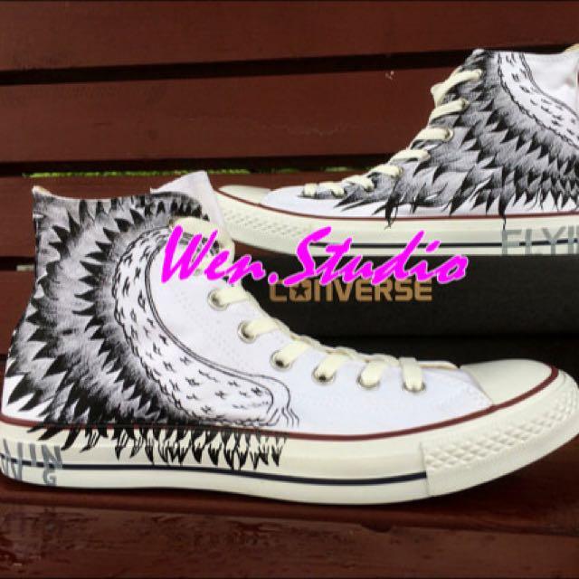 9f3422974ccb  preorder  Custom Customised Personalized Converse Sneakers Feathers Red  Indian