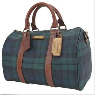 Authentic POLO RALPH LAUREN Green Tartan Boston Hand Bag Purse