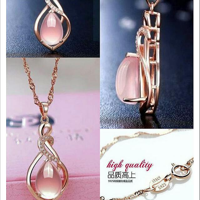 18k Rose Gold Plated Nature Pink Hibiscus Stone Pendant Necklace