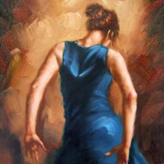 Oil Painting The Lady In blue
