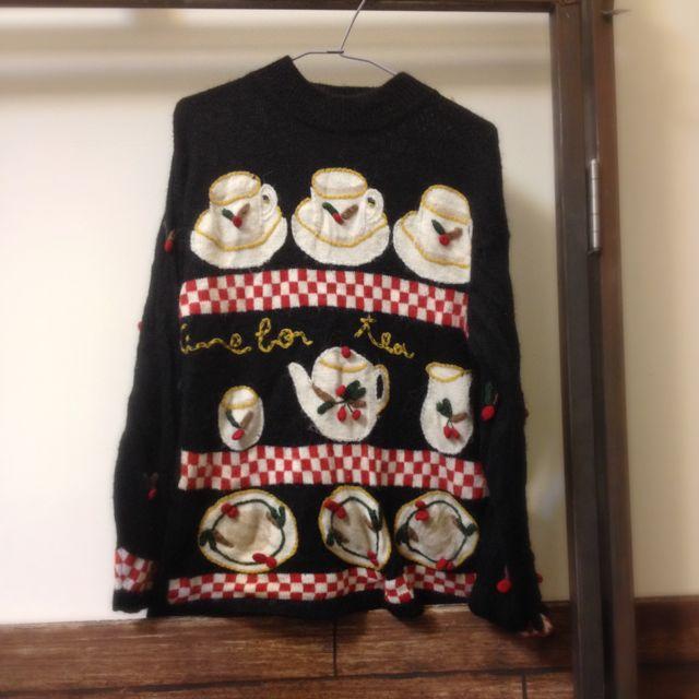 下午茶圖案針織毛衣