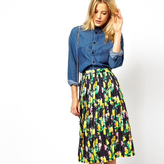 938ba5e64d47 ASOS Pleated Midi Skirt In Neon Floral Print
