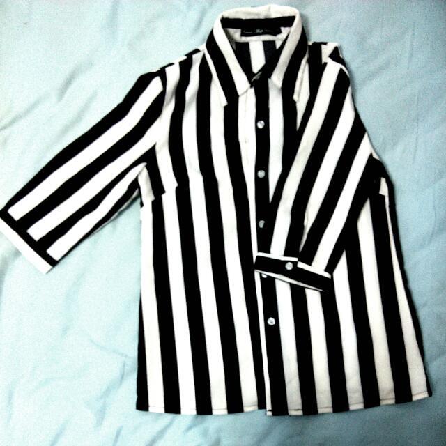 七分袖黑白條紋上衣